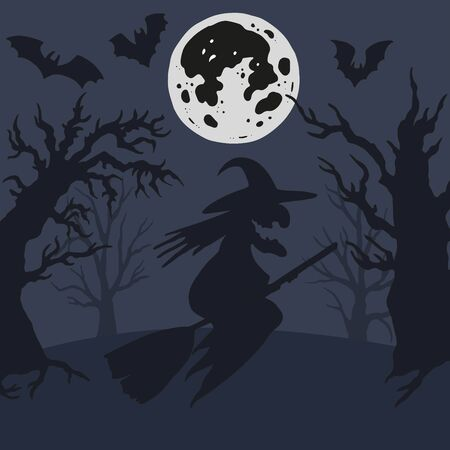 Vector witch silhouette illustration with spooky bats and trees