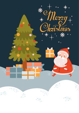 Flat cartoon cute vector Christmas Santa Claus with gifts. Winter landscape Illustration
