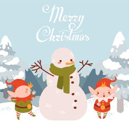 Flat cartoon cute vector Christmas elfs with snowman. winter landscape