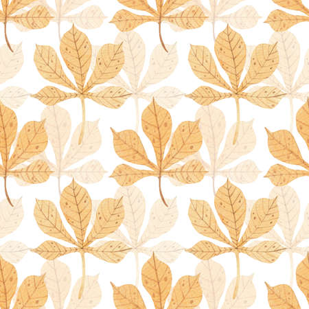 Watercolor seamless pattern with tender chestnut leaves.