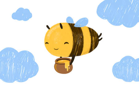 Hand drawn cute Honey Bee with clouds. Hand drawn character