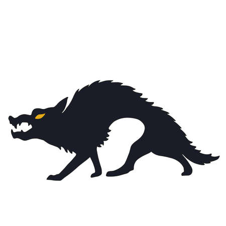 Vector set of halloweens silhouette wolf, werewolf. Spooky illustration Illustration