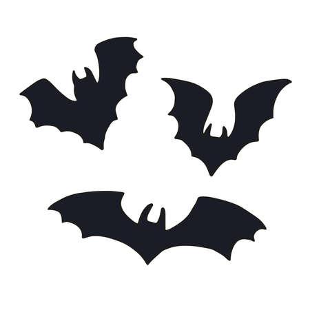 Vector set of halloweens silhouette bats. Spooky illustration