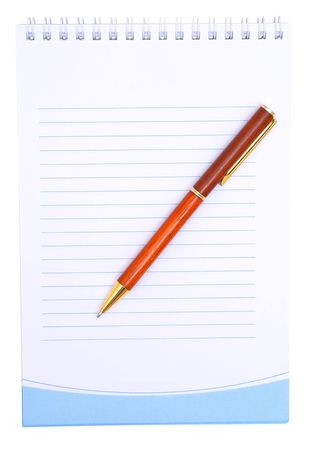 Notebook with the handle on a white background.