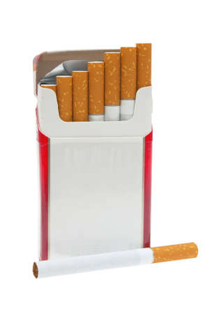 Open pack of cigarettes and a cigarette on a white background.                    Reklamní fotografie