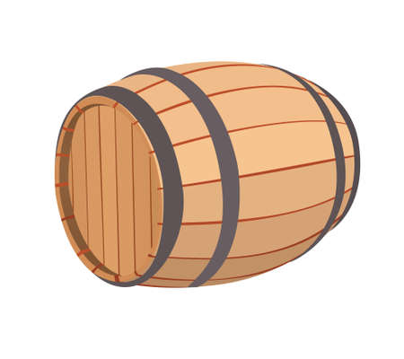 Wooden barrel on a white background, illustration raster. Reklamní fotografie