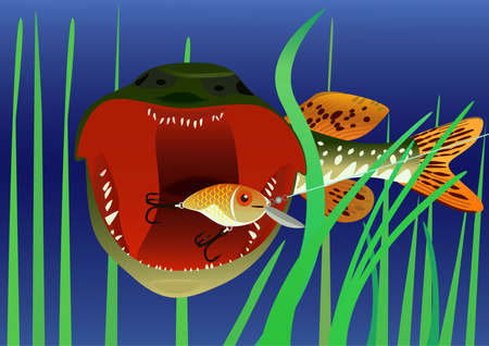 Fishing for bait in the form of fish, raster illustration.  Stock Illustration - 9612875