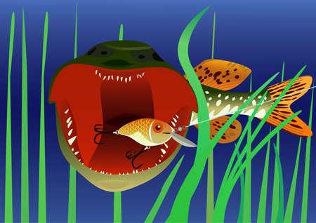 Fishing for bait in the form of fish, raster illustration. Stock Illustration - 9612875