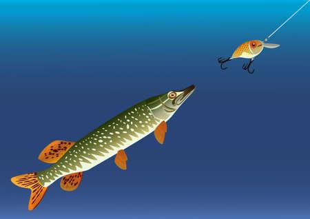 Fishing for bait in the form of fish, raster illustration. Stock Illustration - 9612811