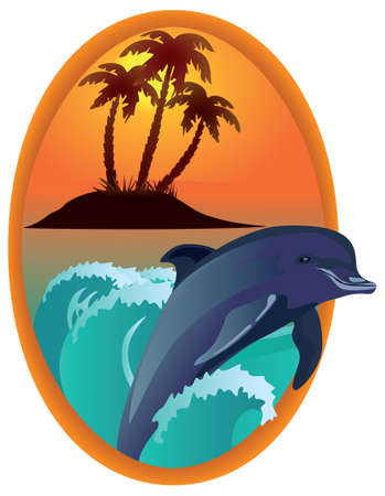 Dolphin against tropical island in a wooden frame, raster illustration. illustration