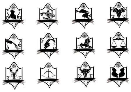 sign simplicity: Icon title zodiac, raster illustration. Stock Photo