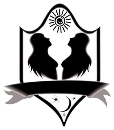 Icon title twins, raster illustration. illustration