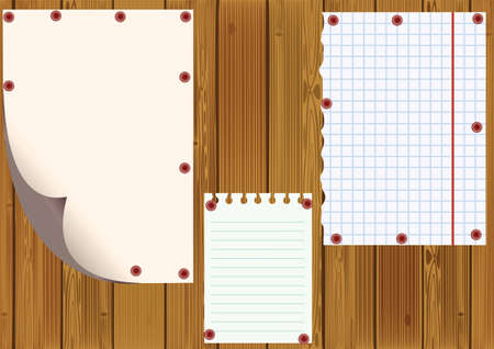Standard sheets against wooden boards, raster illustration. illustration