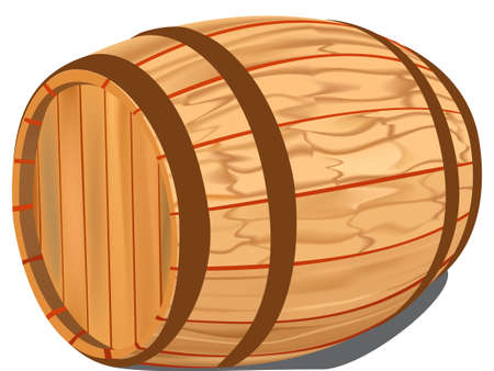 Wooden barrel on a white background, raster illustration. Reklamní fotografie