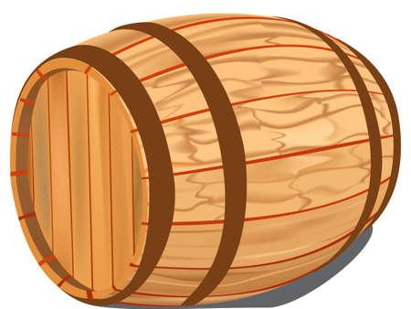 Wooden barrel on a white background, raster illustration. illustration