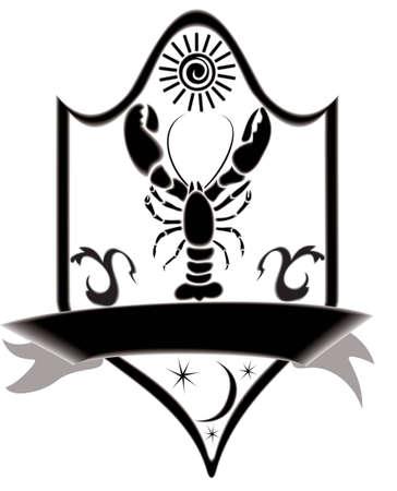 Icon title crawfish, raster illustration. illustration