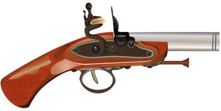 Ancient pistol, raster illustration. Stock Illustration - 9612775