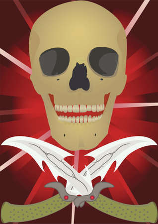 Skull with the crossed knifes, raster illustration. illustration