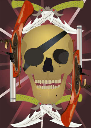 Skull with the crossed knifes and pistols, raster illustration. illustration