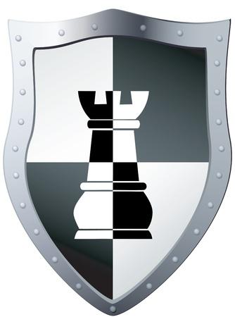 Metal a proteger una pieza de ajedrez, archivo EPS 8 ilustración Ilustración de vector