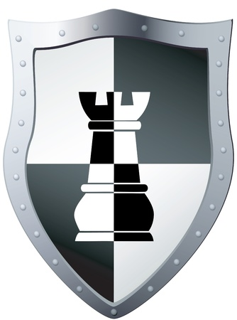 Metal shield a chess piece, file EPS 8 illustration