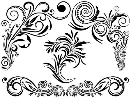 Vintage set calligraphic elements Ilustrace