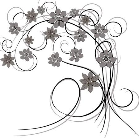 Ornament vintage floral design Çizim