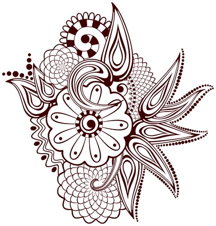 Paisley flowers mehndi design-abstract  Illustration