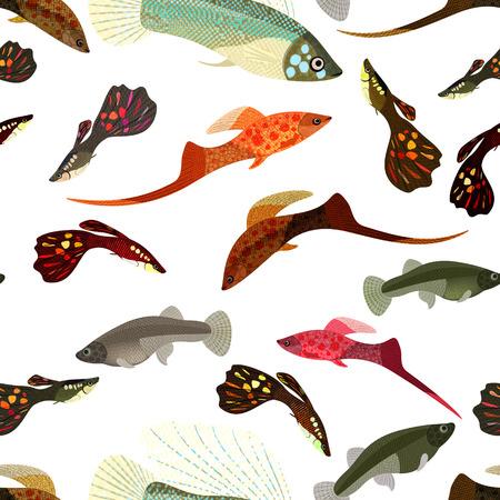 Fishes aquarium design element seamless pattern  Ilustrace
