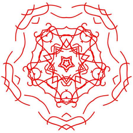 Red circle ornament design element, vector graphics. Ilustrace