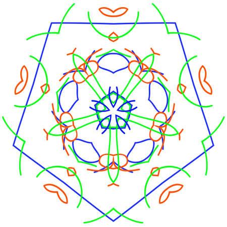 Pentagon ornament design element, vector graphics.