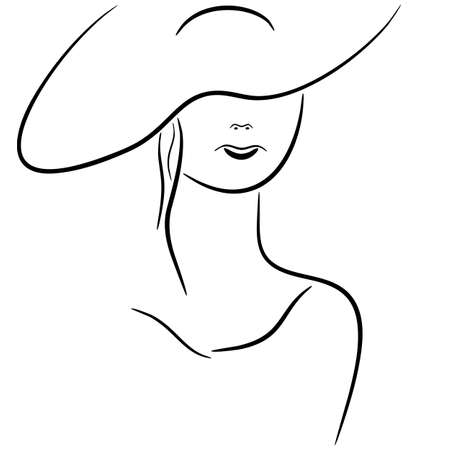 Vector illustration of lady in hat drawing.