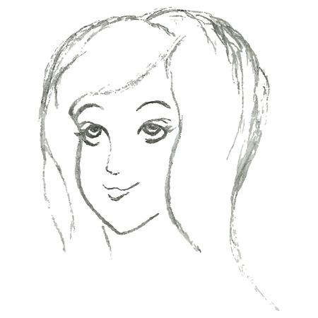 Linear portrait girl pencil drawing Ilustrace