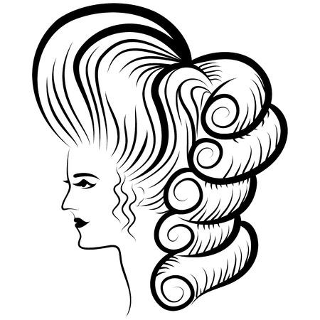 Woman Face Victorian Era Line Drawing Ilustrace