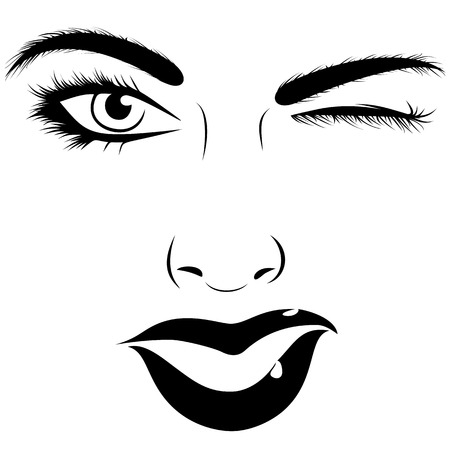 Woman face give a wink vector illustration Ilustrace