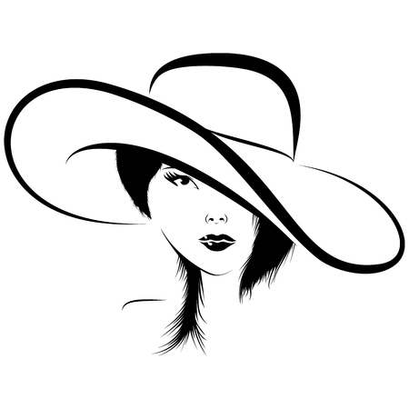 Woman face in hat vector illustration Ilustrace