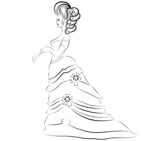 Woman Victorian Era Line Drawing