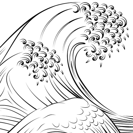 Wave Japanese Style Vector Illustration