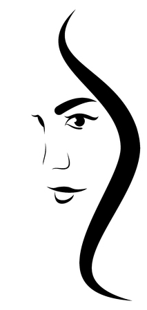 Woman Face Profile Line Drawing
