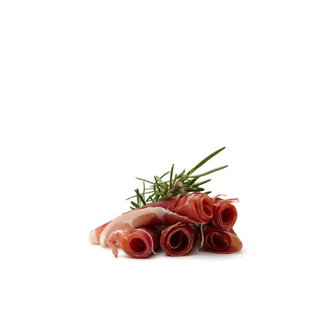 parma ham: Concept of mediterranean and italian food. 5 slices of parma ham rolled and positioned against each other with green rosemary branch on top.Pure white background. Stock Photo