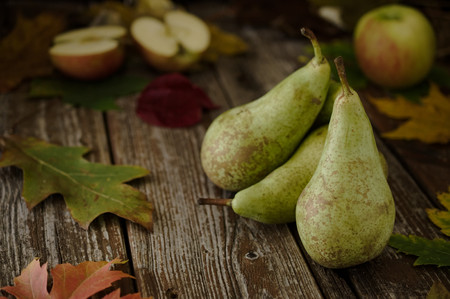 concorde: Green Concorde variety organic pears and apples on rustic wood table with autumn, fall decorations. Selective focus on pear style.