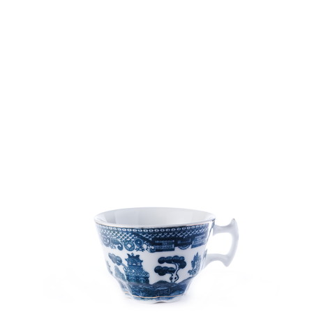 fine china: Antique fine china porcelain coffee cup isolated against pure white background. Square crop.