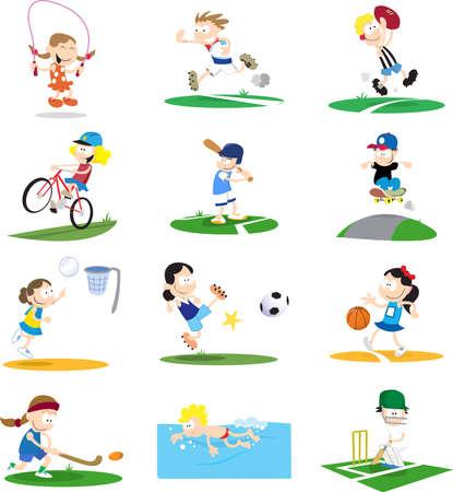 Una colección de ilustraciones de dibujos animados-estilo de niños jugando una variedad de deportes.