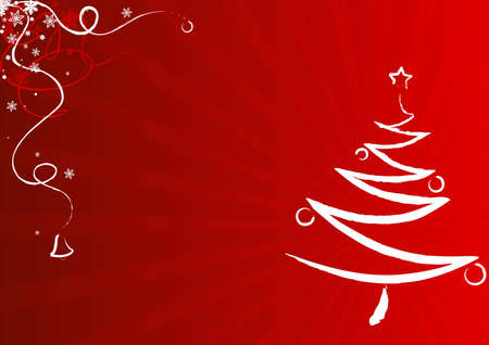 Christmas decorations and Christmas tree over a red gradient background. Illustration