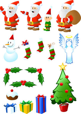 A collection of Christmas-themed items, illustrated in rich colors and a playful style.