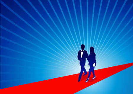 A celebrity couple walk down the red carpet. Illustration