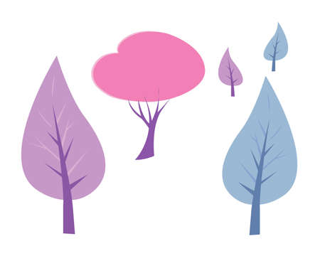 A collection of cartoonish-style  trees in soft colors.