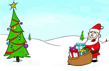 A cartoon-style Christmas card  design. Hand illustrated appearance. Illustration