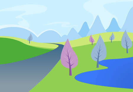A image of a nature landscape or park. Vector