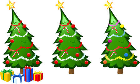 A  illustration of a christmas tree with baubles, tinsel and presents repeated in different color combination. Note that it would be a simple matter to uses this design with or without the presents at the base. Illustration